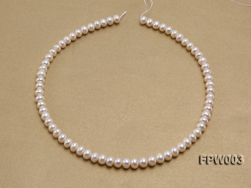 Wholesale 7x8.5mm Classic White Flat Cultured Freshwater Pearl String big Image 3