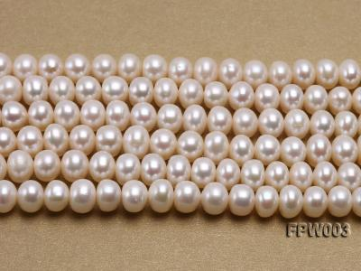 Wholesale 7x8.5mm Classic White Flat Cultured Freshwater Pearl String FPW003 Image 2