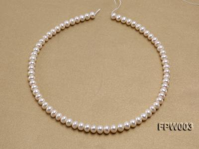 Wholesale 7x8.5mm Classic White Flat Cultured Freshwater Pearl String FPW003 Image 3