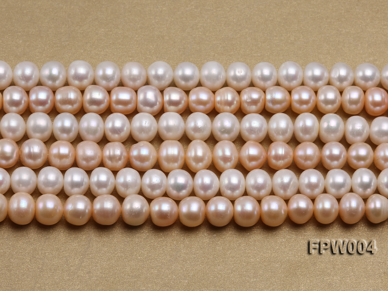 Wholesale 9x10mm Flat Cultured Freshwater Pearl String big Image 2