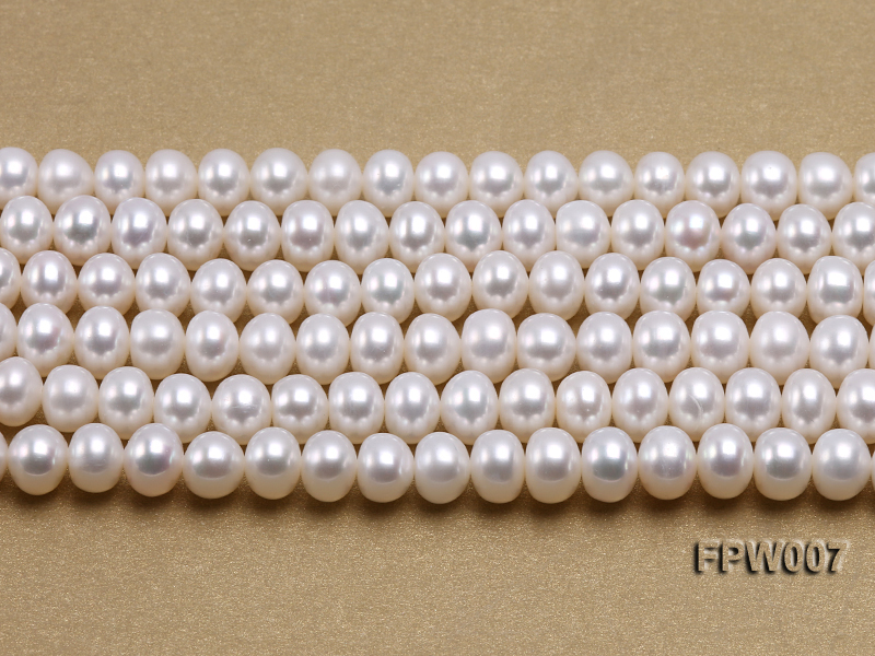 Wholesale 6x8mm Classic White Flat Cultured Freshwater Pearl String big Image 1
