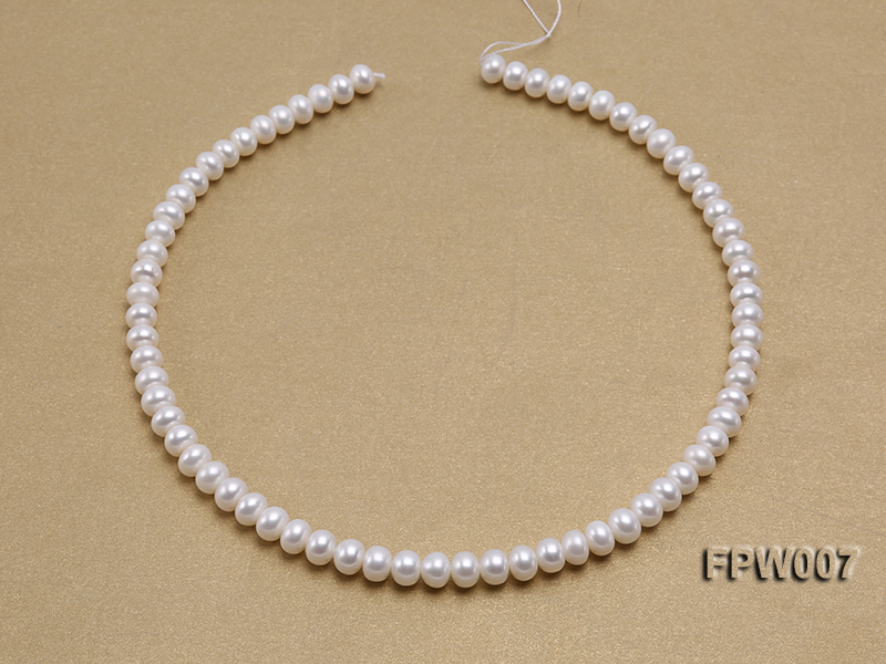 Wholesale 6x8mm Classic White Flat Cultured Freshwater Pearl String big Image 3