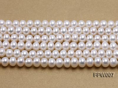 Wholesale 6x8mm Classic White Flat Cultured Freshwater Pearl String FPW007 Image 1