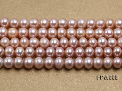Wholesale 8.5x10mm  Lavender Flat Cultured Freshwater Pearl String FPW008 Image 2