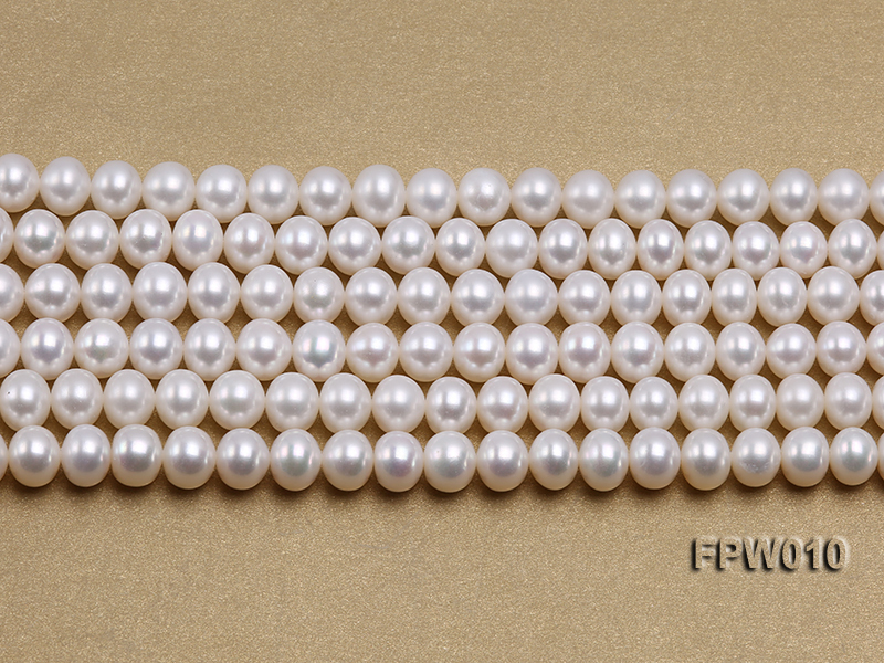 Wholesale 8x9.5mm Classic White Flat Cultured Freshwater Pearl String big Image 2
