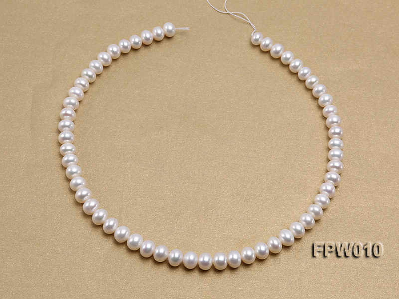 Wholesale 8x9.5mm Classic White Flat Cultured Freshwater Pearl String big Image 3