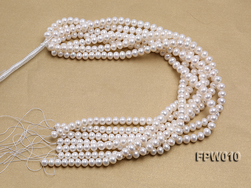 Wholesale 8x9.5mm Classic White Flat Cultured Freshwater Pearl String big Image 4