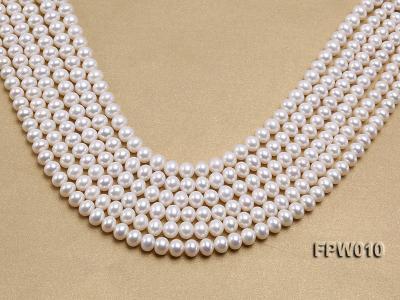 Wholesale 8x9.5mm Classic White Flat Cultured Freshwater Pearl String FPW010 Image 1