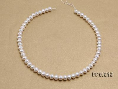 Wholesale 8x9.5mm Classic White Flat Cultured Freshwater Pearl String FPW010 Image 3