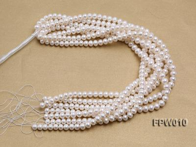 Wholesale 8x9.5mm Classic White Flat Cultured Freshwater Pearl String FPW010 Image 4