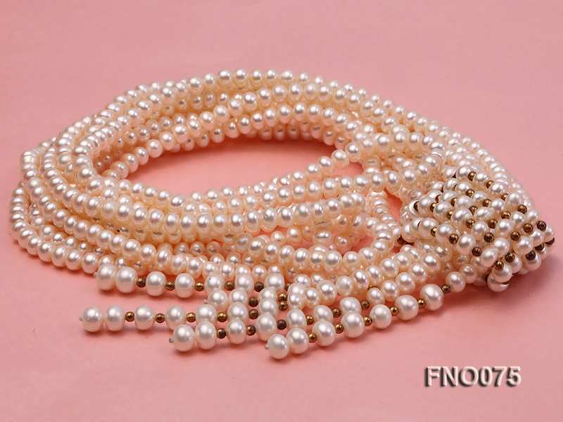 6-7mm natural white flat freshwater pearl necklace big Image 2
