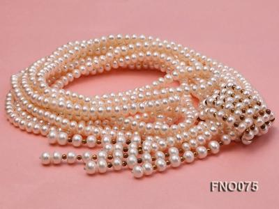 6-7mm natural white flat freshwater pearl necklace FNO075 Image 2