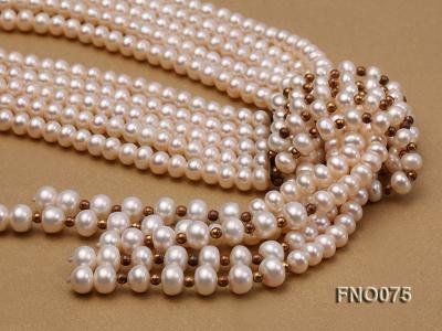 6-7mm natural white flat freshwater pearl necklace FNO075 Image 3