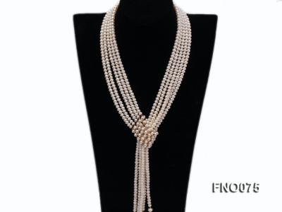 6-7mm natural white flat freshwater pearl necklace FNO075 Image 5