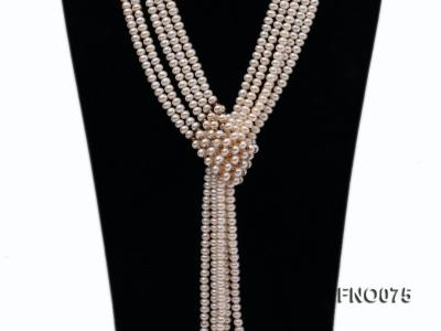 6-7mm natural white flat freshwater pearl necklace FNO075 Image 6