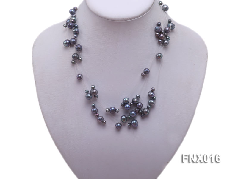 7-strand Bluish-gray Cultured Freshwater Pearl Galaxy Necklace big Image 1