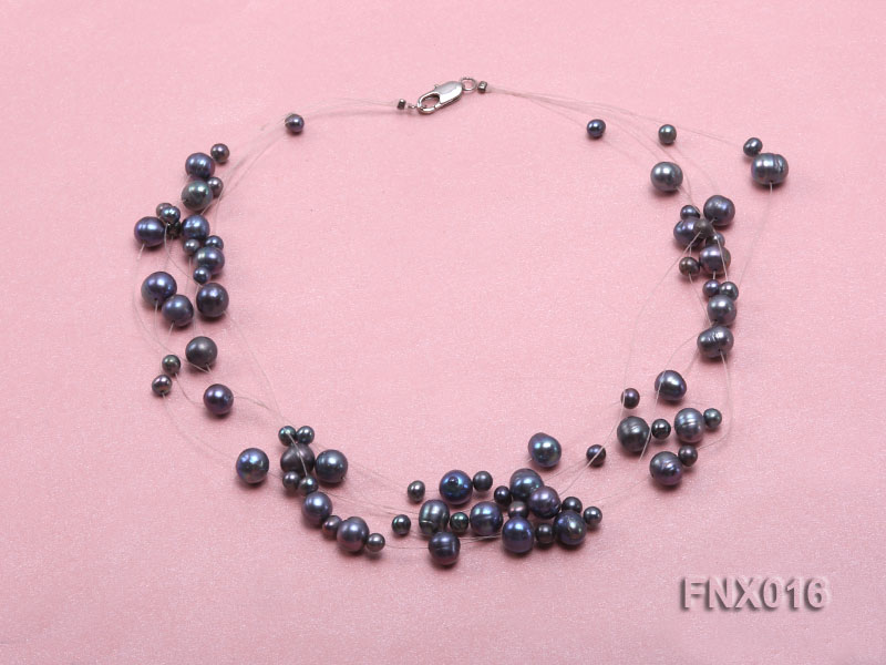 7-strand Bluish-gray Cultured Freshwater Pearl Galaxy Necklace big Image 2