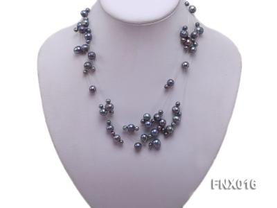7-strand Bluish-gray Cultured Freshwater Pearl Galaxy Necklace FNX016 Image 1