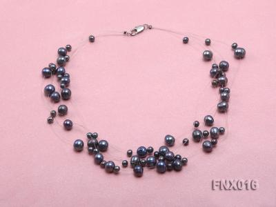 7-strand Bluish-gray Cultured Freshwater Pearl Galaxy Necklace FNX016 Image 2