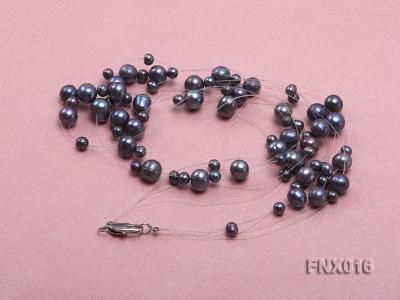 7-strand Bluish-gray Cultured Freshwater Pearl Galaxy Necklace FNX016 Image 3