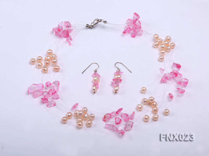 10-strand 6-7mm Cultured Freshwater Pearl & Pink Crystal Chips Necklace and Earrings Set big Image 1