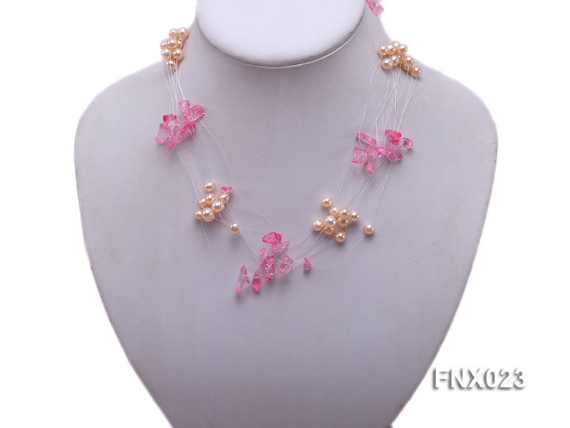 10-strand 6-7mm Cultured Freshwater Pearl & Pink Crystal Chips Necklace and Earrings Set big Image 3
