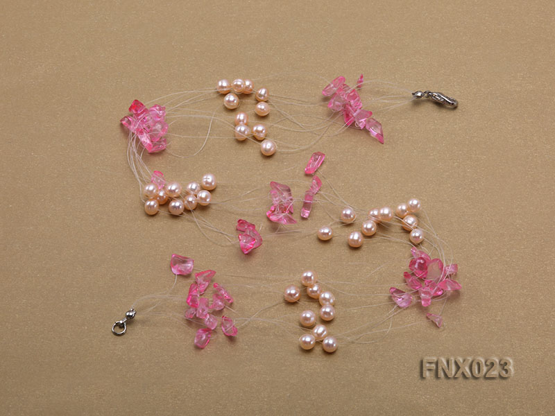 10-strand 6-7mm Cultured Freshwater Pearl & Pink Crystal Chips Necklace and Earrings Set big Image 4