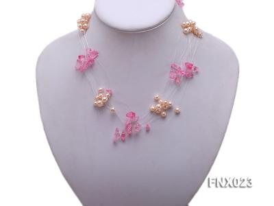 10-strand 6-7mm Cultured Freshwater Pearl & Pink Crystal Chips Necklace and Earrings Set FNX023 Image 3