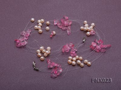 10-strand 6-7mm Cultured Freshwater Pearl & Pink Crystal Chips Necklace and Earrings Set FNX023 Image 5