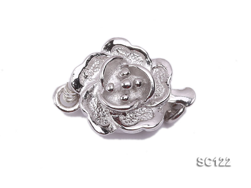 9.5mm Single-strand Flower-shaped Sterling Silver Clasp big Image 1