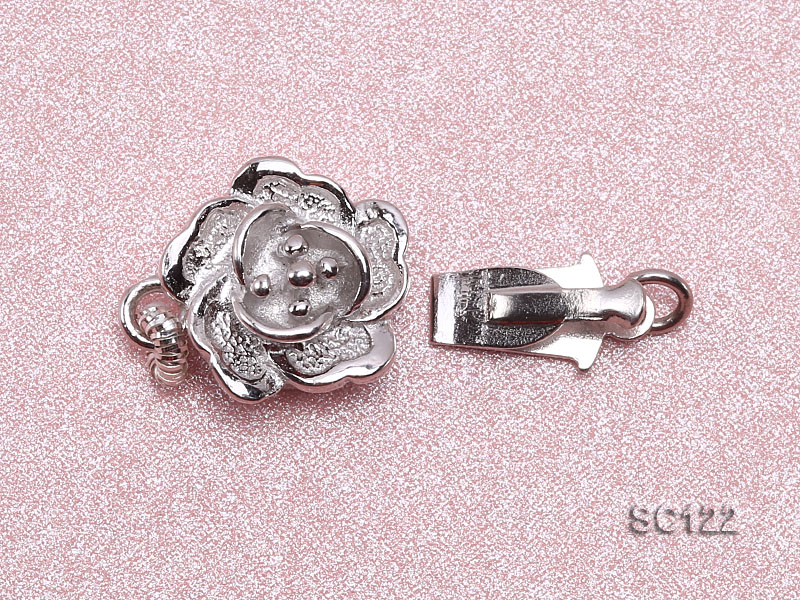 9.5mm Single-strand Flower-shaped Sterling Silver Clasp big Image 3