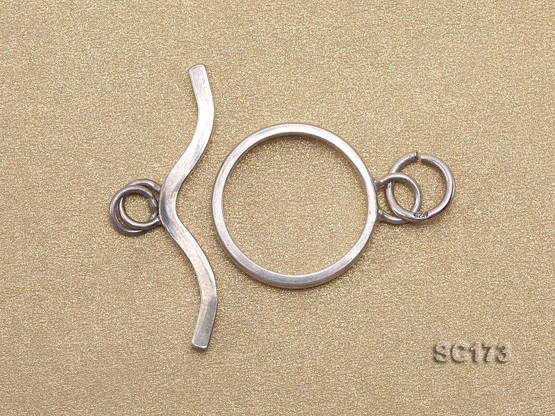 15mm Single-strand Sterling Silver Toggle Clasp big Image 2