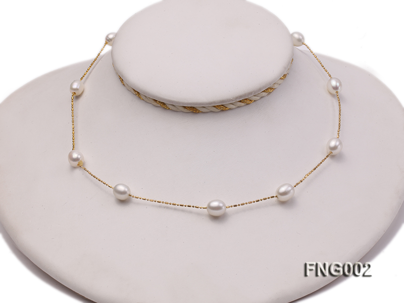 7x8mm Freshwater Pearl on a Gold-plated Metal Chain Station Necklace big Image 2