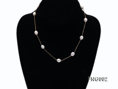 7x8mm Freshwater Pearl on a Gold-plated Metal Chain Station Necklace FNG002 Image 1