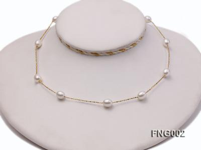 7x8mm Freshwater Pearl on a Gold-plated Metal Chain Station Necklace FNG002 Image 2