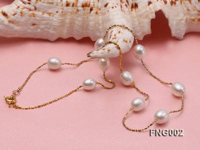 7x8mm Freshwater Pearl on a Gold-plated Metal Chain Station Necklace FNG002 Image 3
