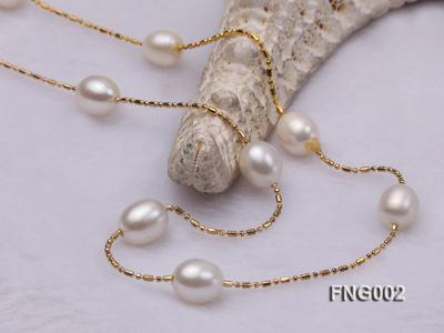 7x8mm Freshwater Pearl on a Gold-plated Metal Chain Station Necklace FNG002 Image 4