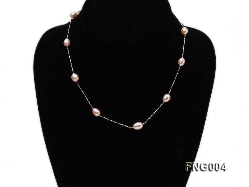 7x8mm Freshwater Pearl on a Gold-plated Metal Chain Station Necklace big Image 1