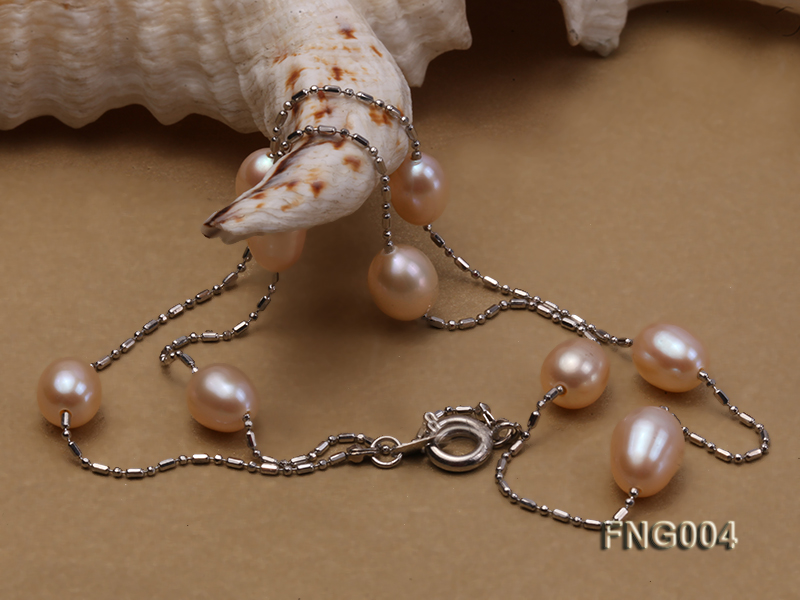 7x8mm Freshwater Pearl on a Gold-plated Metal Chain Station Necklace big Image 4
