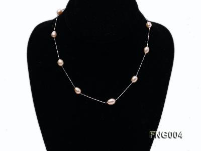 7x8mm Freshwater Pearl on a Gold-plated Metal Chain Station Necklace FNG004 Image 1