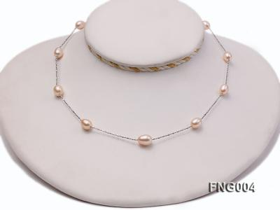 7x8mm Freshwater Pearl on a Gold-plated Metal Chain Station Necklace FNG004 Image 2