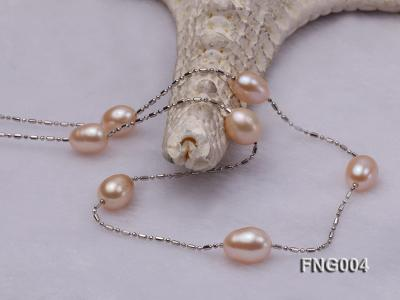 7x8mm Freshwater Pearl on a Gold-plated Metal Chain Station Necklace FNG004 Image 3