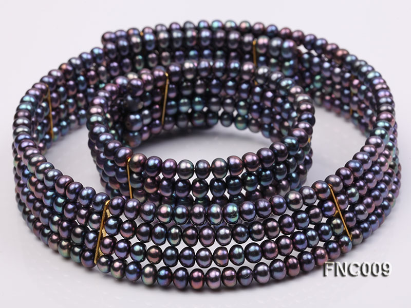 Four-row 5mm Black Freshwater Pearl Choker Necklace and Bracelet Set big Image 1