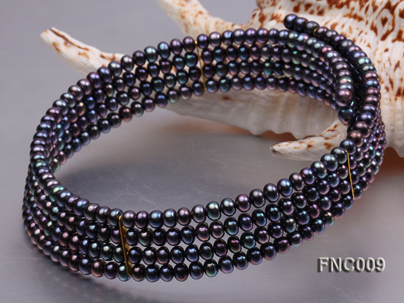 Four-row 5mm Black Freshwater Pearl Choker Necklace and Bracelet Set big Image 2