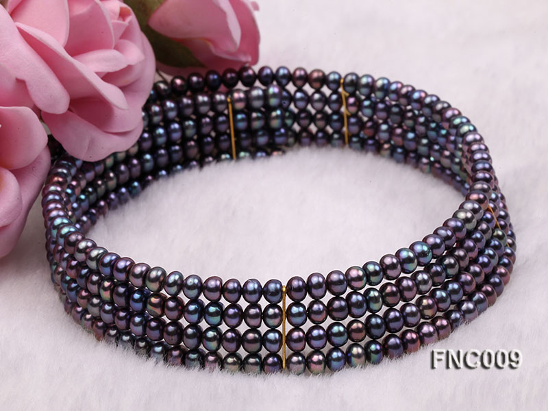 Four-row 5mm Black Freshwater Pearl Choker Necklace and Bracelet Set big Image 5