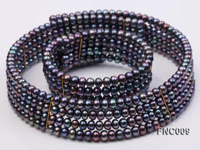 Four-row 5mm Black Freshwater Pearl Choker Necklace and Bracelet Set FNC009 Image 1