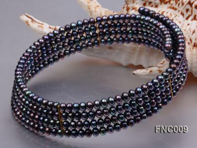 Four-row 5mm Black Freshwater Pearl Choker Necklace and Bracelet Set FNC009 Image 2