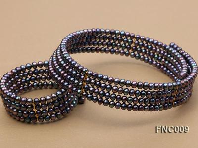 Four-row 5mm Black Freshwater Pearl Choker Necklace and Bracelet Set FNC009 Image 4