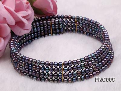 Four-row 5mm Black Freshwater Pearl Choker Necklace and Bracelet Set FNC009 Image 5