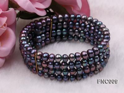 Four-row 5mm Black Freshwater Pearl Choker Necklace and Bracelet Set FNC009 Image 6